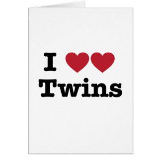 Amo a gemelos tarjeta de felicitación