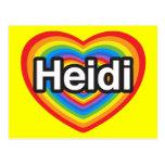 Amo a Heidi. Te amo Heidi. Corazón Tarjetas Postales