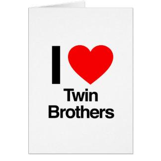 amo a hermanos gemelos tarjeta de felicitación