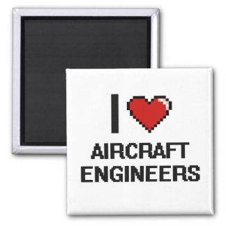 Amo a ingenieros de los aviones imán cuadrado