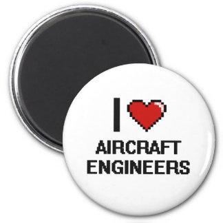 Amo a ingenieros de los aviones imán redondo 5 cm