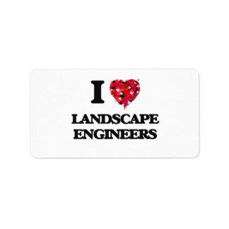Amo a ingenieros del paisaje etiqueta de dirección