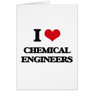 Amo a ingenieros químicos tarjeta de felicitación