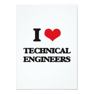 Amo a ingenieros técnicos invitación 12,7 x 17,8 cm