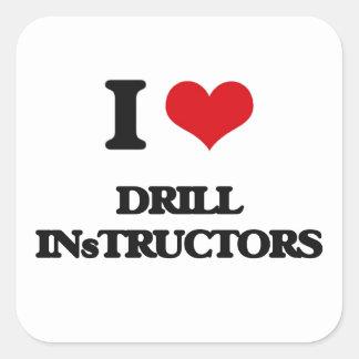 Amo a instructores de taladro pegatinas cuadradas
