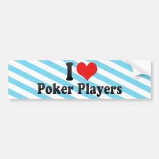 Amo a jugadores de póker pegatina para coche