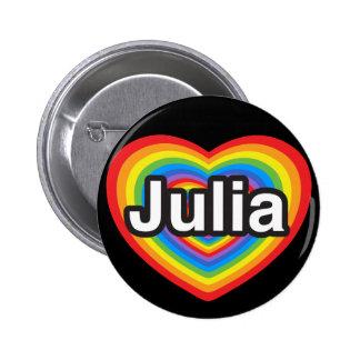 Amo a Julia. Te amo Julia. Corazón Pin