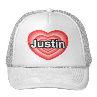 Amo a Justin Te amo Justin Corazón Gorras De Camionero