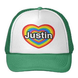 Amo a Justin. Te amo Justin. Corazón Gorras