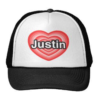 Amo a Justin. Te amo Justin. Corazón Gorro De Camionero