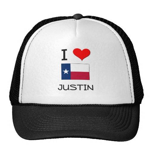 Amo a Justin Tejas Gorros Bordados