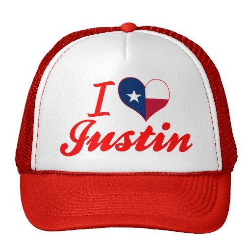 Amo a Justin, Tejas Gorros Bordados