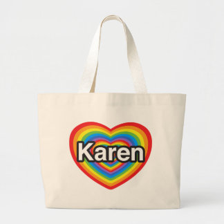 Amo a Karen. Te amo Karen. Corazón Bolsas Lienzo