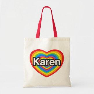 Amo a Karen. Te amo Karen. Corazón Bolsa Tela Barata