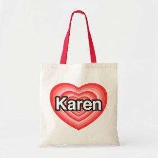 Amo a Karen. Te amo Karen. Corazón Bolsas