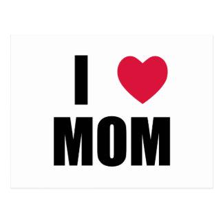 Amo a la mamá - corazón rojo - texto negro postal