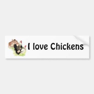 Amo a la pegatina para el parachoques de los pollo