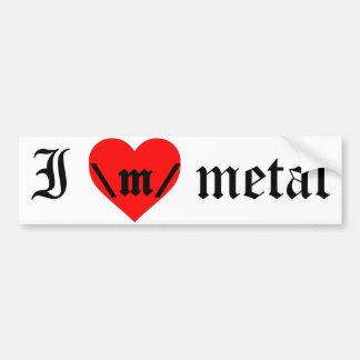 Amo a la pegatina para el parachoques del metal