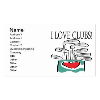 Amo a los clubs tarjetas de visita