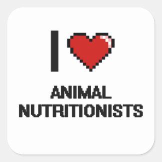 Amo a los nutricionistas animales pegatina cuadrada