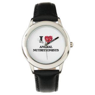 Amo a los nutricionistas animales reloj de mano