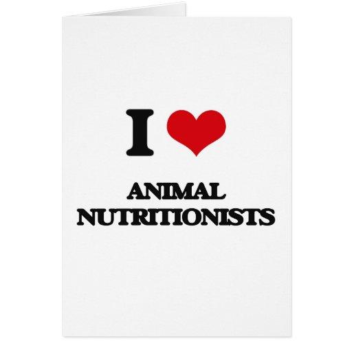 Amo a los nutricionistas animales tarjetón