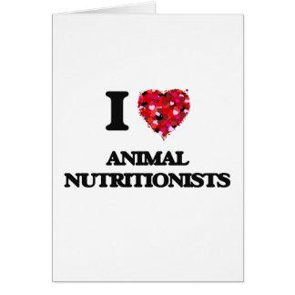 Amo a los nutricionistas animales tarjeta de felicitación
