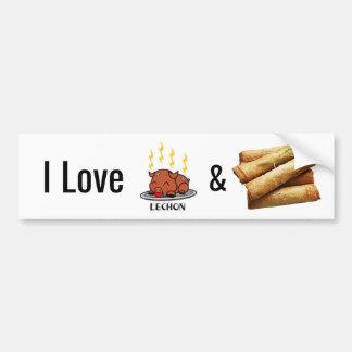 Amo a los pegatinas de Lechon y de Lumpia Pegatina Para Coche