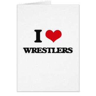 Amo a luchadores tarjeta de felicitación