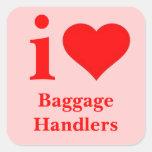 Amo a manipuladores de equipaje calcomanía cuadradas personalizada