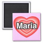 Amo a Maria. Te amo Maria. Corazón Imanes De Nevera