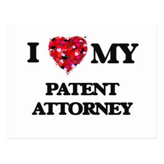 Amo a mi abogado de patentes postal