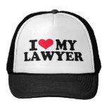 Amo a mi abogado gorros