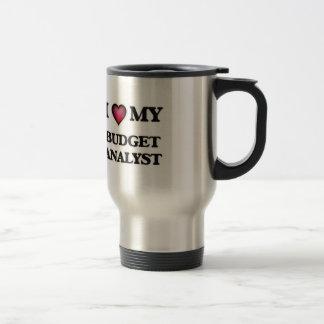 Amo a mi analista del presupuesto taza de viaje