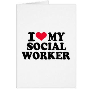 Amo a mi asistente social tarjeta de felicitación