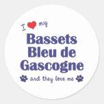 Amo a mi Bassets Bleu de Gascogne (los perros Pegatina Redonda