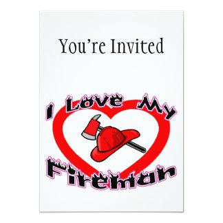 Amo a mi bombero invitación 12,7 x 17,8 cm