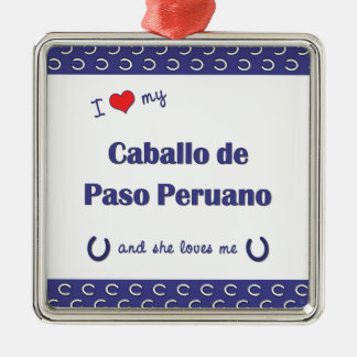 Amo a mi Caballo de Paso Peruano (el caballo Adorno Cuadrado Plateado
