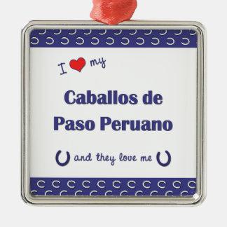 Amo a mi Caballos de Paso Peruano (los caballos Adorno Cuadrado Plateado