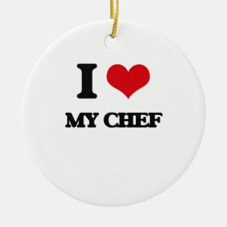 Amo a mi cocinero adorno redondo de cerámica