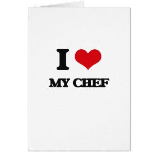 Amo a mi cocinero tarjeta de felicitación