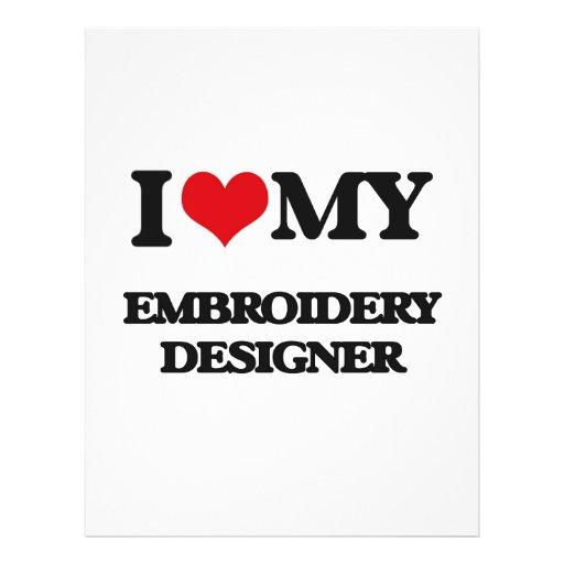 Amo a mi diseñador del bordado tarjetas informativas