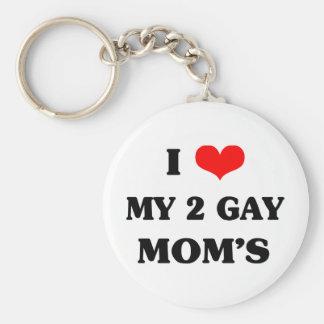 Amo a mi dos mamáes del gay llavero redondo tipo chapa