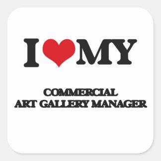 Amo a mi encargado de la galería de arte comercial calcomanías cuadradass