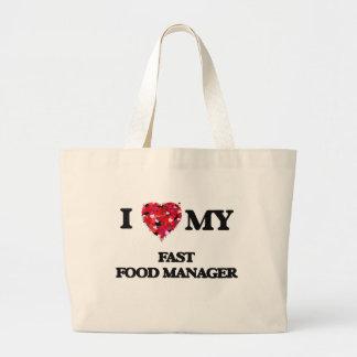 Amo a mi encargado de los alimentos de preparación bolsa tela grande