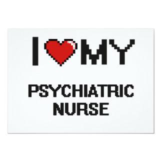 Amo a mi enfermera psiquiátrica invitación 12,7 x 17,8 cm