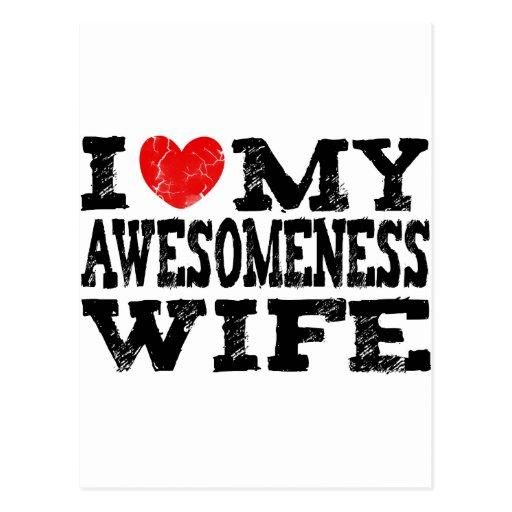 Amo a mi esposa de Awesomeness Tarjetas Postales