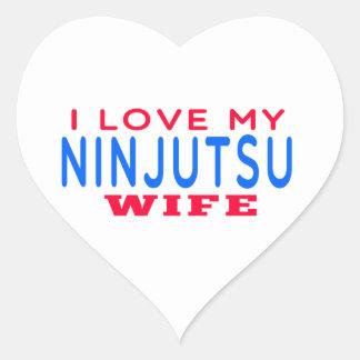 Amo a mi esposa de Ninjutsu Pegatinas De Corazon Personalizadas