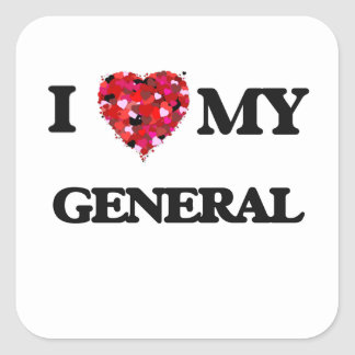 Amo a mi general pegatina cuadrada