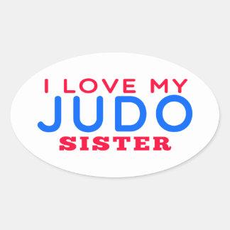 Amo a mi hermana del judo calcomanía de oval